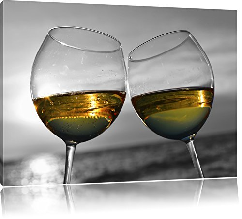 Wein in Gläsern am Meer schwarz/weiß Format: 80x60 auf Leinwand, XXL riesige Bilder fertig gerahmt mit Keilrahmen, Kunstdruck auf Wandbild mit Rahmen, günstiger als Gemälde oder Ölbild, kein Poster oder Plakat