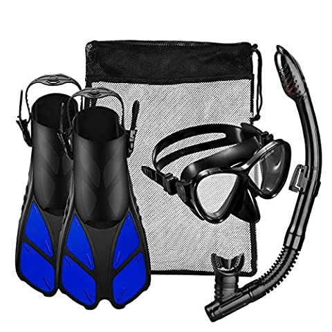 Silicone Snorkel Set, OMorc Snorkeling Gear Diving Mask with a