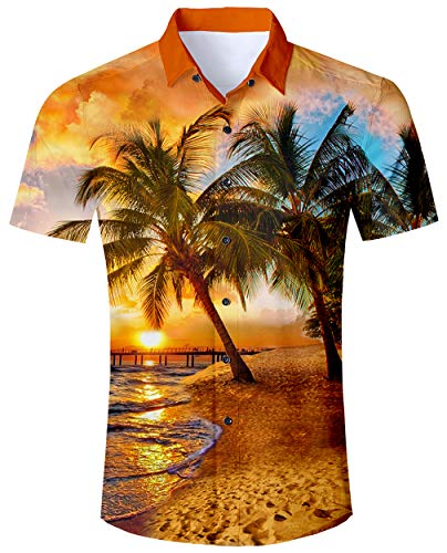 ALISISTER Funky Hawaiihemd Herren Shirt Junge 3D Palme Hemd Kurzarm Lässig Strand Aloha Party Regular Slim Hawaii Kurzärmliges Hemd Blumen Aloha Shirts Gelb XL