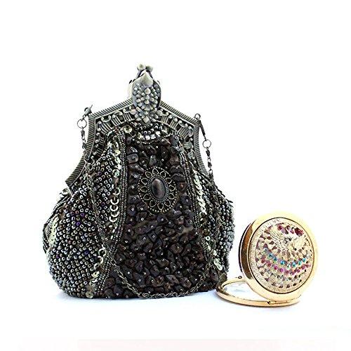 Harson&Jane Samen Perlen Antike Clutch Bag Abend Party Hochzeit Handtasche Prom Taschen Clutch Geldbörse (Dunkelgrün) (Handtasche Tasche Abend Zubehör Perlen)
