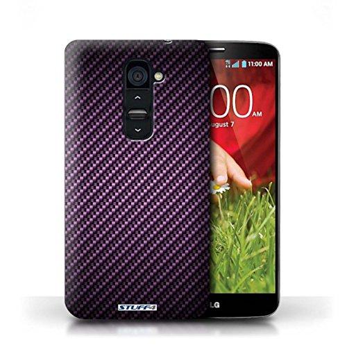 Kobalt® Imprimé Etui / Coque pour LG G2 / Gris conception / Série Motif de Fibre de Carbone Pourpre