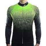 Qianliuk Mens Runder Kragen Anti-Shrink-Radtrikot,Langarm-Reißverschluss-Anti-Pilling-Fahrrad-Radsportbekleidung Breathbale