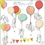 Stickers da Parete Adesivi Muro Cameretta dei Bambini Con Coniglietti Decorazioni Camera da Letto Bimbi Soggiorno Asilo Nido Animali