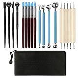 STARVAST Polymer Clay Werkzeug, 19pcs Polymer Ton Werkzeug Modellierwerkzeuge Set, 5 Dotting Tool + 5 Modellierwerkzeug Silikon + 4 Ball Tool + 4 Modellierwerkzeug Kunststoff + 1 Aufbewahrungstasche
