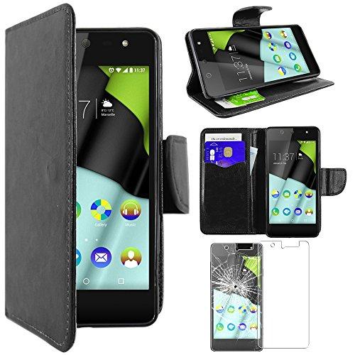 ebestStar - Wiko Selfy 4G Hülle Kunstleder Wallet Case Handyhülle [PU Leder], Kartenfächern, Standfunktion, Schwarz + Panzerglas Schutzfolie [: 141 x 68.4 x 7.7mm, 4.8'']