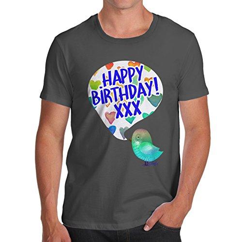 Herren Happy Birdy Birthday T-Shirt Dunkelgrau