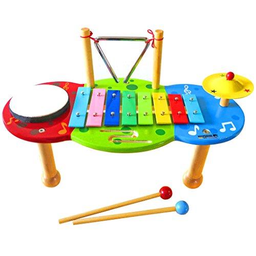KEEPDRUM Musiktisch Schlagzeug Kinder-Percussion mit Glockenspiel