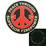 Peace Through Superior Firepower Glow Dark GITD Crosshair Morale Taktisch Tactical PVC Gummi 3D Hook-and-Loop Aufnäher