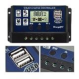 BougeRV 20A Régulateur de Charge Solaire 12V/24V avec Ecran LCD Contrôleur de Chargeur Solaire Auto Régulateur Solaire Protection pour Batterie Panneau Lampe