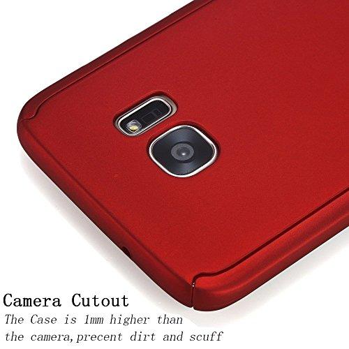 Vanki® Custodia Samsung Galaxy S6 Edge, 360 Gradi della copertura completa 2 in 1 Hard Stilosa PC Case Cover Protettiva Bumper Posteriore per Galaxy S6 Edge Rosso
