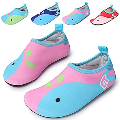 UMmaid Kids Water Shoes Swim Shoes Mutifunctional Quick Drying Barefoot Aqua Socks for Beach Pool Pink 4-5 M UK