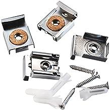 Shappy 2 Set (8 Stück) Federbelastete Spiegelaufhängung Clips Set Ungerahmte Spiegelhalterung Spiegelhalter Clip mit Rawl Plugs und Schrauben