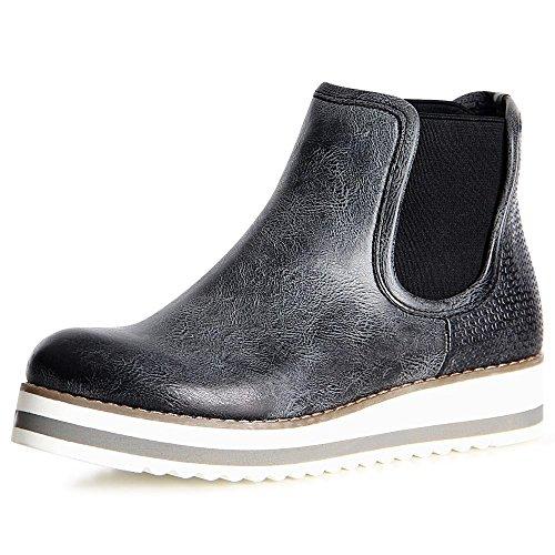 topschuhe24 1097 Damen Stiefeletten Chelsea Boots Booties Schwarz
