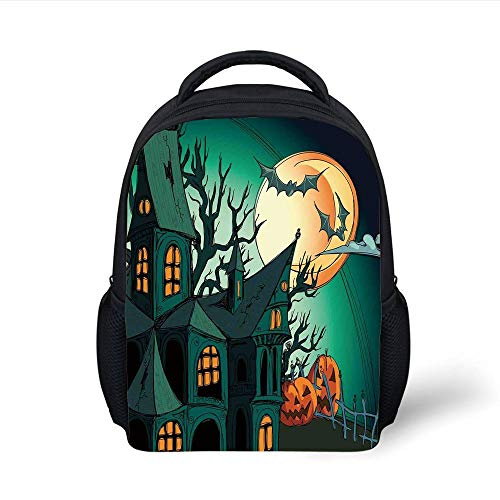 Kids School Backpack Halloween Decorations,Haunted Medieval Cartoon Bats in Twilight Gothic Fiction Spooky Art,Orange Teal Plain Bookbag Travel Daypack (Spooky Für Halloween-cartoons Kinder)