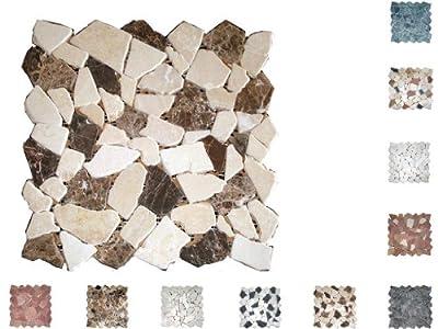 1Netz Marmor Mosaik Bruch getrommelt Castano/Cream von Mosaikdiscount24 auf TapetenShop