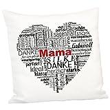 Kissen - Herz aus Worten für Mütter (mit Personalisierung): Dekokissen 40x40 cm zum Muttertag, zum Geburtstag oder zu Weihnachten für Mama - optional personalisiert mit Name