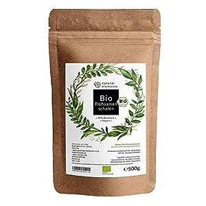 Bio Flohsamenschalen – Premium Qualität: Laborgeprüft, 99+% Reinheit, zertifiziert Bio. Vegan. Low-Carb. Ballaststoffreich. Glutenfrei. Ohne Zusätze. Nachhaltig angebaut – 500g Beutel