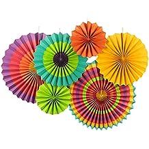 SUNBEAUTY Paquete de 6 abanicos de papel multicolor 21cm 31cm 42cm decoración para celebración fiesta cumpleaños