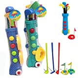 KIDS PLASTIC GOLF CLUB TOY CART CADDY SET BALLS BAG SUMMER GARDEN BEACH