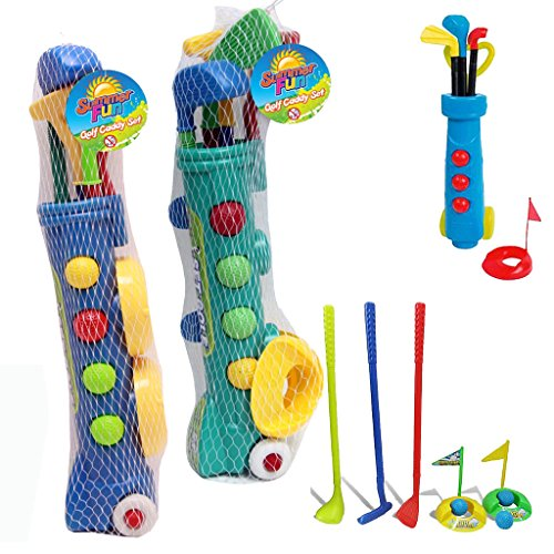 KIDS PLASTIC GOLF CLUB TOY CART CADDY SET BALLS BAG SUMMER GARDEN BEACH OUTDOOR by Guaranteed4Less