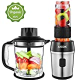 Standmixer, Aicok Smoothie Maker, 700 Watt Blender, 2 in 1 Multifunktion Mixer + Fleischwolf/Mini standmixer, 24000U/Min, 570ml Sport-Flasche BPA frei...