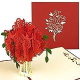 Pop-Up Karte Rote Rosen - 3D Geschenkkarte für besondere Anlässe (Geburtstagskarte, Hochzeitstag, Jahrestag) - Romantische Jahrestagskarte, Hochzeitstag-Karte für Freundin, Partnerin, Frauen