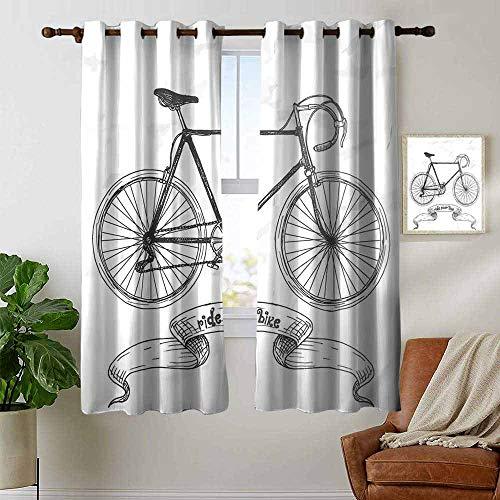 petpany Ösenvorhänge für Fahrräder, Aufschrift Ride Your Bike Mountainbike handgezeichnet, Anthrazit/Weiß/Verdunkelungsvorhänge für Schlafzimmer Fenster, Polyester, Color01, 42'x63'(W106cmxL160cm)