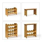 Weinregal Standregal Flaschenregal 50x24x84cm Gläserregal Weinschrank 16 Flaschen und 12 Gläser Küchenregal Holzregal Bambusregal - 3