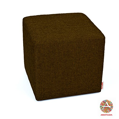 Arketicom Pouf Cubo Poggiapiedi Marrone in Poliuretano ad Alta Densita Dimensioni 35x35x35 cm (puf puff pouff pouffe)