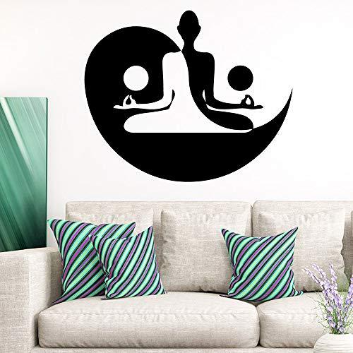 Modeganqingg Kreative Buddha Yoga Wandaufkleber Selbstklebende Vinyl wasserdichte Wand Art Deco Yoga Studio Dekoration Schlafzimmer Schmücken Wandtattoo Schwarz XL 58 cm X 70 cm