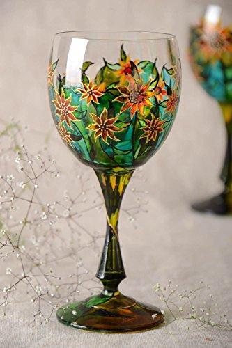 Verre a pied en verre peint a motif floral fait main 30 cl original Solaire