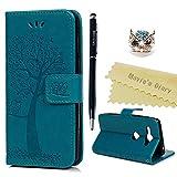 Sony Xperia XZ2 Compact Hülle Case Mavis's Diary Eule Baum Muster Leder Tasche Handyhülle Flipcase Cover Skin Ständer Schutzhülle Schale Klappbar Ledertasche Magnet Wallet Bumper Handytasche-Blau