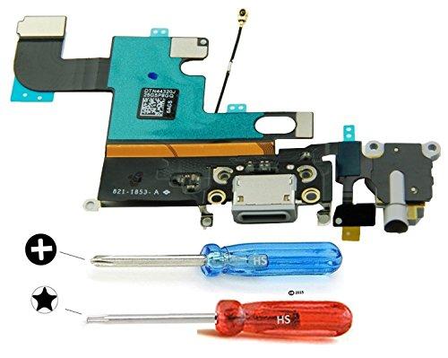 MMOBIEL Dock Connector für iPhone 6 (Schwarz/Space Grey) USB Ladebuchse Flex Mikrofon mit selbstklebender Unterseite inkl 2 x Schraubenzieher für einfache Installation (Antenne Lautsprecher)