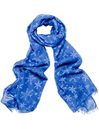 Bright Blue Snowflake Print Wide Scarf
