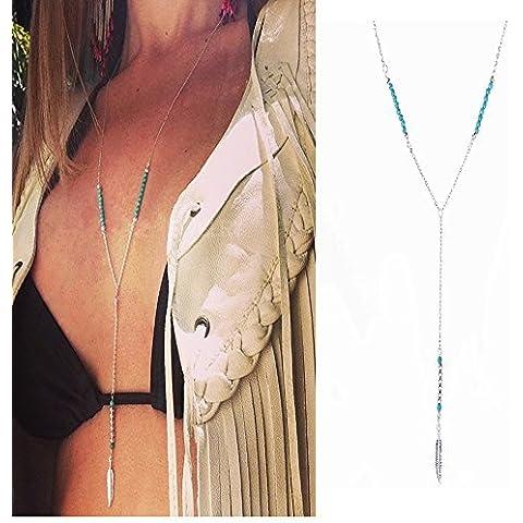 UdobuySilver Y Shaped Necklace Bohemia Bikini Turquoise Beads Feather Pendand Tassel Chain Long Necklace by Udobuy