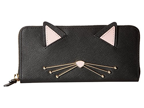 Kate Spade New York Women's Cat's Meow Lindsey Cat Wallet, Black Multi, One Size