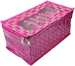 Kuber Industries Jewellery Kit with 10 Transparent Pouches (Pink)
