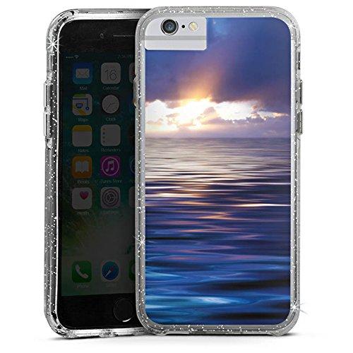 Apple iPhone 6s Bumper Hülle Bumper Case Glitzer Hülle Ozean Sonnenuntergang Mer Bumper Case Glitzer silber