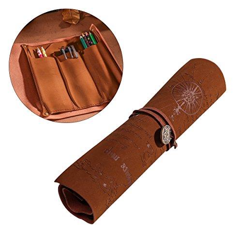 NUOLUX Cuero genuino Lápiz Estuche Bolígrafos Bolsas Artículos de papelería Bolsa de tela Art Pouch Desk Tidy (Hexagrama)
