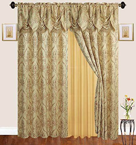 n-Set mit Stickerei für Gardinenstange mit durchsichtiger Rückseite und angebrachtem Querbehang für Wohnzimmer/Schlafzimmer, 2 Stück Gold ()