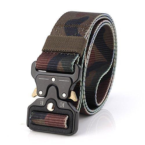 YOUFU Taktischer Gürtel, Herren Textil Gürtel Kobra Militär Taktischen Heavy Duty Verstellbarer Nylon-Gürtel 3.8cm Breite mit Metallschnalle, Klassik Camouflage 2, Länge: 125cm (49.21 Inches) -
