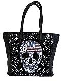 Jn Gianni Shopper Handtasche mit USA Totenkopf Schultertasche Damen Tasche Schwarz Skull Nieten
