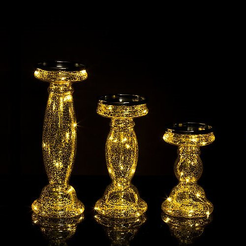 3er Set Kerzenständer für Stumpenkerzen mit LED-Beleuchtung (Lichterkette) und Timer - Kerzenhalter aus Glas (Gold)