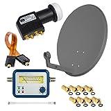 HD Digital SAT Anlage 60cm Spiegel Schüssel Anthrazit Stahl + Quad LNB Schwarz 4 Teilnehmer zum Empfang von DVB-S/S2 Full HD 3D Ultra HD (UHD) Signale + Sat-Finder + Fensterdurchführung + F-Stecker Gratis dazu im SET
