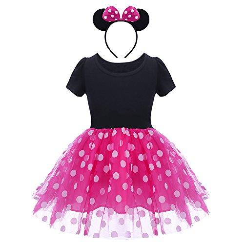 OBEEII Kostüm Prinzessin Mädchen Baby Kinder Gepunktet Tüll Kleid Festlich Polka Dots Tutu mit Stirnband Schleife Verkleiden für Karneval Mardi ()
