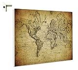 B-wie-Bilder.de Magnettafel Pinnwand Memoboard mit Motiv Weltkarte Antik Größe 80 x 60 cm