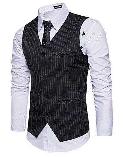 Uomo Elegante Striscia Classiche Gilet Blazer V-Collo Senza Maniche Con Pulsante Nero