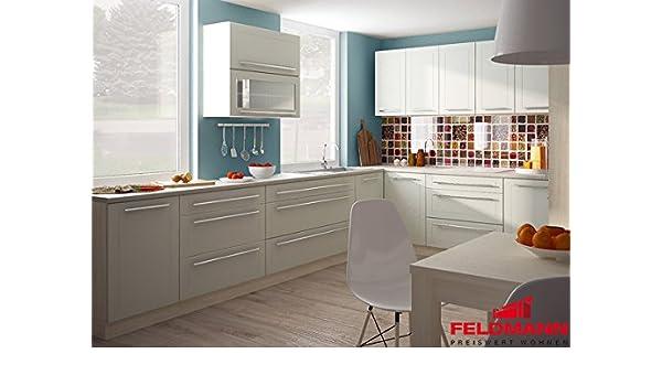 Küchenzeile küche l form 300 x 180cm 16898 jersey vanille matt amazon de küche haushalt