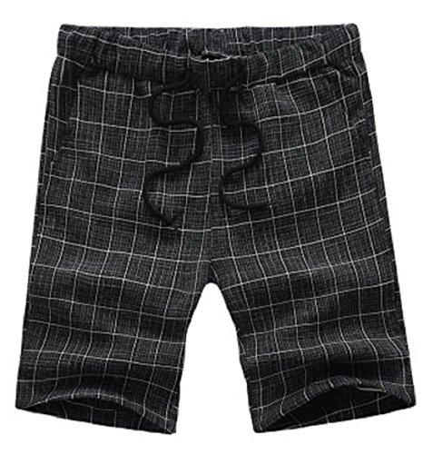 Men's Cotton Plaid Beach Shorts Black