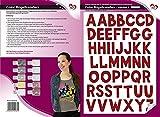 Color Bügeltransfers, DIN A4, ABC, Alphabet | Buchstaben auf Transfer-Folien für Textilien wie T-Shirts & Taschen | Transfer-Bilder schnell & einfach aufbügeln | DIY Textildesign (dunkelrot)